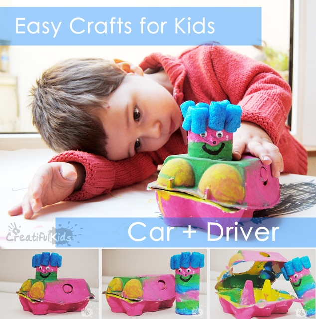 car from egg carton and toilet paper rolls