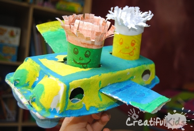 plane crafts from egg carton and toilet rolls