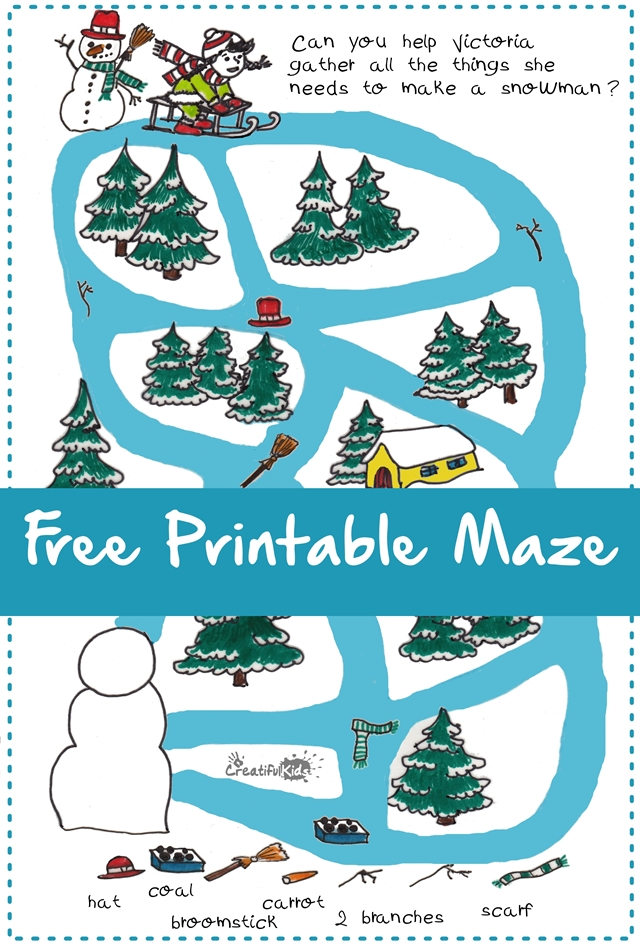 Snow Maze: Free Printables For Kids